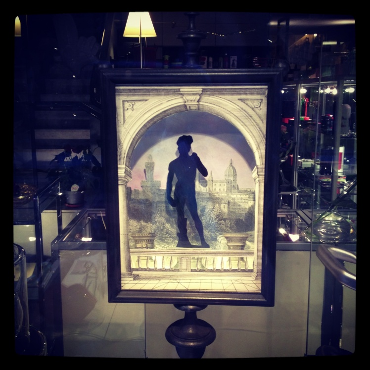 A framed Michelangelo's David