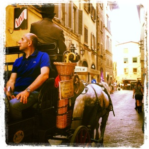 As in the past times  visiting Florence by carriage and horse